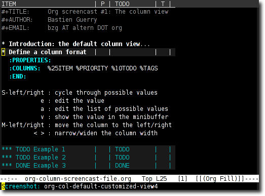 Emacs Org's Column View
